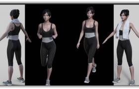CG女孩人物角色模型带骨骼绑定材质贴图