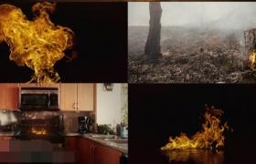 554组地面水面火焰燃烧喷发4K特效合成视频素材