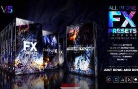 1000+FX预设包图形背景标题动画电影LUTS过渡音效包装元素PR模板