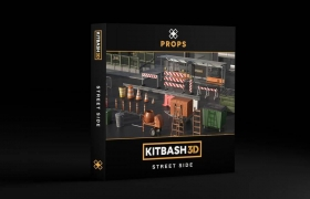 城市街道街角三维模型 Kitbash3d – PROPS StreetSide